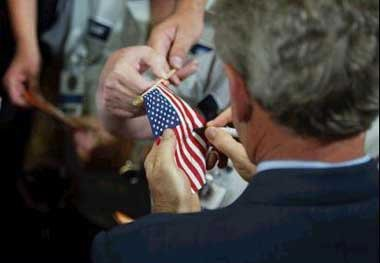 Bush signing flag